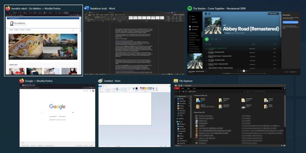 Alt+tab taustiņu kombinācija ātrai logu pārslēgšanai