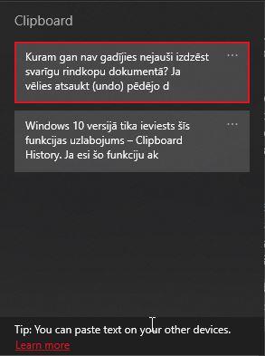 Clipboard History funkcija Windows 10 ļauj ērti kopēt vairākus tekstus un attēlus